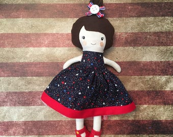 Fabric Doll Rag Doll Brown Haired Girl in Navy Dress with stars and two Skirts