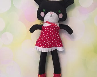 Fabric Doll Rag Doll Black Cat / Black Kitty - Red dress with white dots
