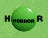 "E004 VHS Horror 1"" Pinback Button Pin Film Cinema Movie Retro VCR Video Rental Sticker Logo 80's Vintage Cassette"