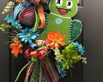 Wreath, Summer Wreath, Frog Wreath, Frog Decor