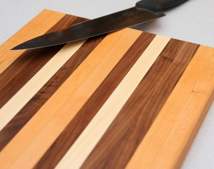 Featured listing image: Custom Handmade Walnut, Cherry, and Hard Maple Cutting Board for cooking, cutting meat, vegetables, wedding gifts, handmade kitchen decor