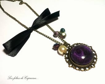 Large Peacock violette• •plume necklace necklace CABOCHON