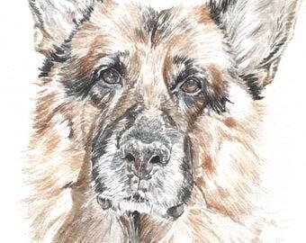 Custom Pet Portrait - A5 Watercolour Dog Portrait - Pet Illustration - Gift for Dog Owner -Gift for Pet Owner - ONE Dog