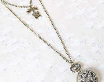 Pocket Watch * Butterfly * * Wonderland * brass, alice, necklace jewelry