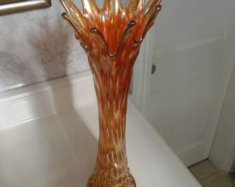 Antique Fenton Carnival Glass Marigold ''RUSTIC'' Mid-size Vase (16 3/4in)  - Vintage Art Glass - Iridized Collectible Glass(392)