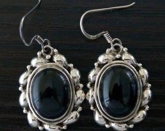 ON SALE Stylish BLACK Onyx Silver Earrings
