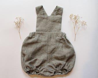 Handmade linen romper. Unisex romper. Unisex baby clothes. Striped grey romper. Toddler romper. Summer romper. Unisex linen romper.