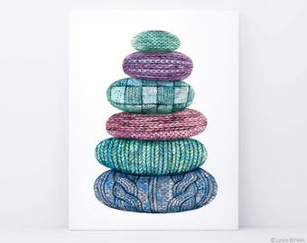 Harmony Stones, feng shui art,  watercolor painting, knitted art, crochet pattern, modern poster, green abstract