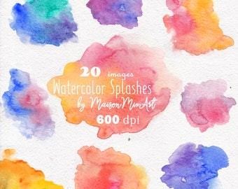 Watercolor Splashes Clipart, 600dpi, hand painted, splodge, pools, spots, abstract watercolor, background clip art
