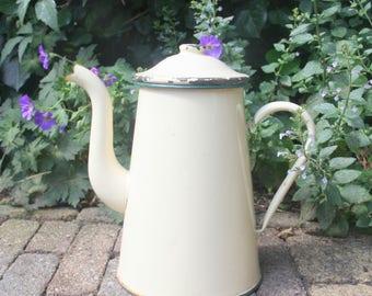 Vintage French Soft Yellow Enamel Tea/Coffee Pot, Green Rim