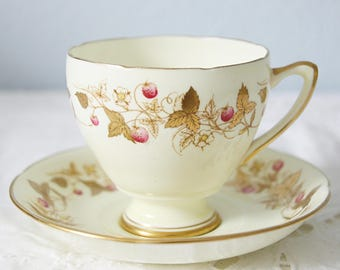 Vintage Royal Grafton Golden Glory Cup and Saucer, Gold Flower Pattern, Wild Strawberry, England