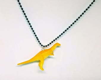Dinosaur Necklace Black Ball Chain Yellow Dinosaur Jewelry Gifts 5 and Under