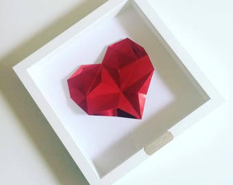 Framed Personalised Origami Ruby Heart - 40th Wedding Anniversary Gift