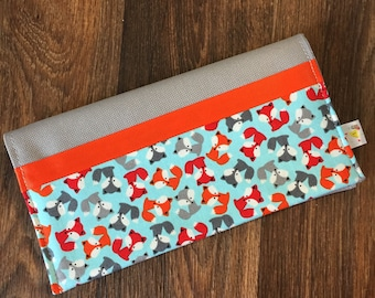 Protects health record Fox orange/red/gray personalized with name