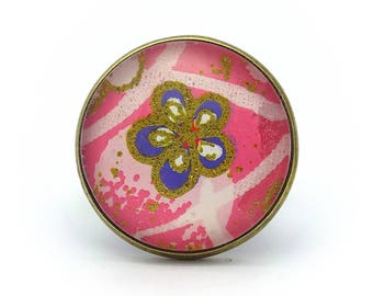 Fancy ring - pink and gold with a purple and Gold Flower ring - Adjustable ring