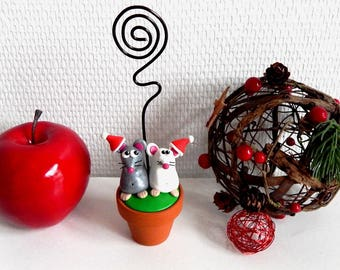 Locket mouse with Christmas hats