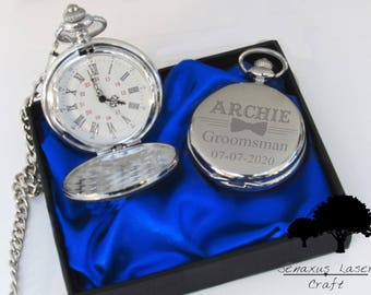 Personalised wedding gift Silver Pocket Watch groom/bride party favours SPW7