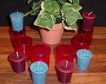 Set of 6 votive candles and 6 glass holders