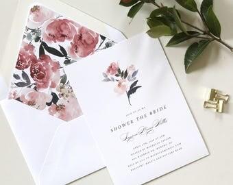 Bridal Shower Invitation, Simple Floral Bridal Shower Invite, Floral Wedding Shower Invitation, Watercolor wedding shower, Beautiful shower
