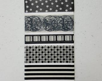 Washi tape samples, 5 different designs on a paper tag. Free shipping.