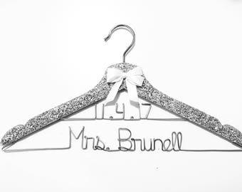 2 line wire Glitter Hanger, Sparkle Hanger, Bling Hanger, Bridal Hanger, Wedding Hanger, Personalized Hanger, Bride Hanger, Custom Hanger