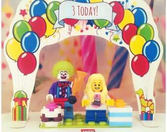 Square LEGO birthday card. Ages 3-5