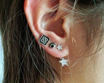 Star Ear Jacket Earrings • Ear Jacket Earrings • Front back earrings • Silver Earrings • Minimal Jewelry • For her • Valentine's Day Gift