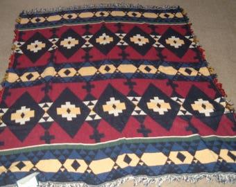 New Vtg~Unused~Jacquard Woven Cotton Throw~Cozy Blanket~Picnic Blanket~Sofa/Chair Throw