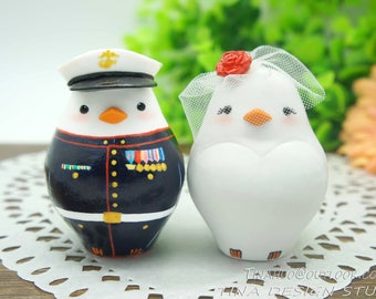 Marine Corps Wedding Cake Toppers-Custom Love Bird Wedding Cake Toppers-Bride And Marine Groom Wedding Cake Toppers