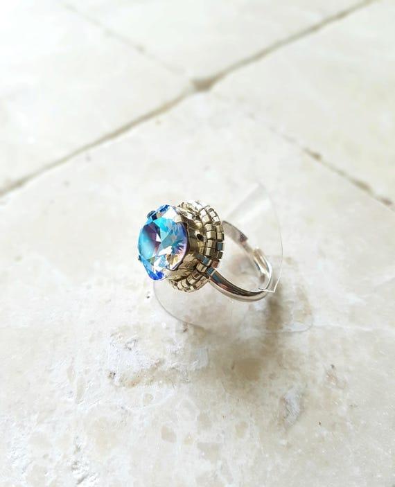 Crystal Shimmer blue Ring