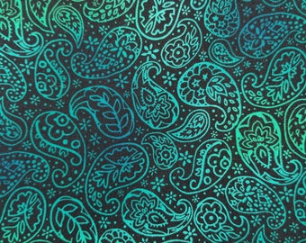 Cotton Fabric, Sewing Fabric, Quilting Fabric, Blue and Black Paisley, 1.5 yards-Ready to Ship