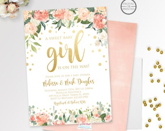 Gold Confetti Baby Shower Invitation | Girl Baby Shower Invitation | Pink and Gold Baby Shower | Floral Baby Shower Invite | Flowers