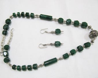 Beaded Necklace With Green Onyx Beads , Silver oxidized Long Necklace Set , Beaded Chain With Metal Finding Pendant , Designer Necklace.