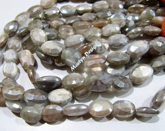 Best Quality Natural Grey Moonstone Beads , Oval Faceted Mystic AB Coated Peach Moonstone Beads 10 to 14 mm , Strand 13 inches long.