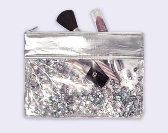 Sequin Makeup Bag, Silver Pouch, Sequin Purse, Sequin Zipper Pouch, Sequin Pouch, Clear Makeup Pouch, Clear Glitter Bag, Clear Vinyl Bag