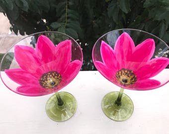 Custom Hand-Painted Pink Flower Martini Wine Glass Set