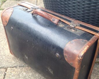 A vintage 1950's large hardcase leather suitcase antique retro hipster 1960's travelcase attache luggage bohemian