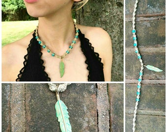 Handmade hemp necklace with feather charm