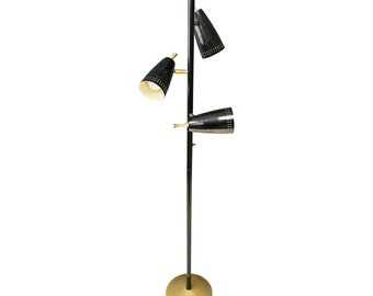 Vintage 60s POLE FLOOR LAMP mid century modern metal light black gold eames era danish retro 50s mod atomic space age 3-way living room