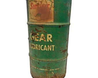 Vintage SINCLAIR OIL BARREL advertising metal trash garbage can waste steampunk drum Green dinosaur old hamper storage holder keeper garage