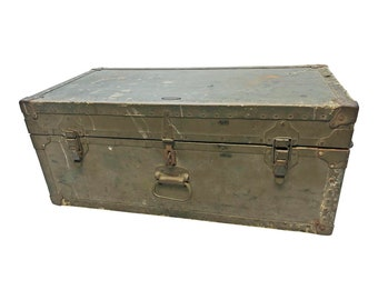 Vintage Military STORAGE TRUNK train luggage GREEN flat top foot locker wood toy box coffee table base rustic us army wooden wwii 1943 spec