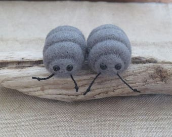 Felted woodlouse pill bug beetle desk buddy keepsake stocking stuffer party favor small gift