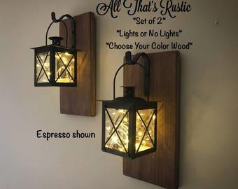 Set of 2 Lantern Sconces, Hanging Sconces, Lantern Sconce, Wall Sconces, Rustic Wall Sconces, Rustic Home Decor, Lighted Sconces, Gifts