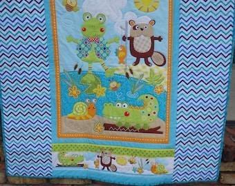 baby quilt, nursery decor, baby boy quilt, gender neutral quilt, lap quilt, crib quilt