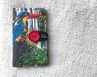 Card wallet, Credit card wallet, Loyalty card wallet, Repurposed fabric wallet, Cassowary wallet, Cassowary card wallet,Handmade card wallet