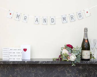 Mr And Mrs Vintage Card Wedding Bunting by VINTAGE PLAYING CARDS