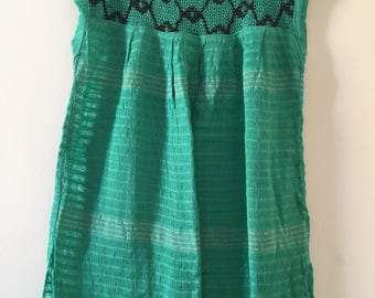 Traditional mexican aqua with detail blouse of loom