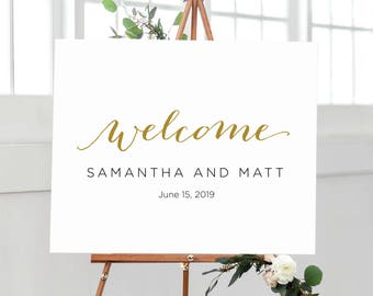 Welcome to Our Beginning Welcome Print, Calligraphy Welcome Sign, Wedding Welcome Sign, Welcome Wedding Poster