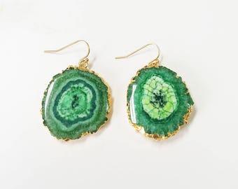 Green Agate Slice Earrings