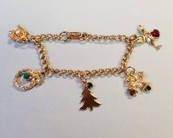 Vintage Christmas Charm Bracelet, Christmas Bracelet, Charm Bracelet
